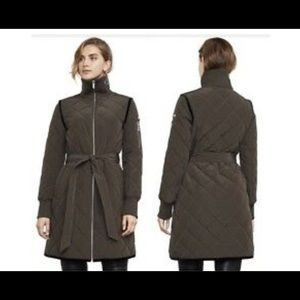 BCBGMaxAzria Long Brown Krystal Quilted Coat - S